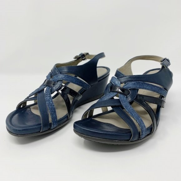 Ecco Shoes | Navy Blue Strappy Wedge